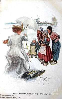 Vintage Postcard Of An American Girl In The Netherlands Poster by Patricia Hofmeester