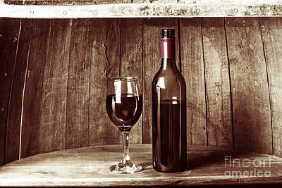 Vintage Red Wine In Old Winery Cellar Barrel  Poster by Jorgo Photography - Wall Art Gallery