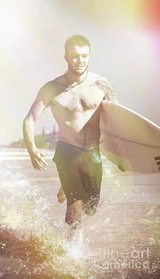 Vintage Surfer Running With His Board In Surf Poster by Jorgo Photography - Wall Art Gallery