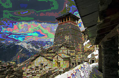 Vintage Temple At The Origin Of Ganga On Of Of The Top Peaks Of Himalaya Mountain Ranges In India   Poster by Navin Joshi