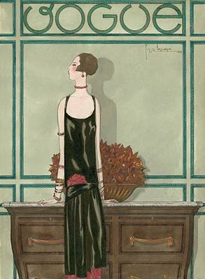 Vogue Magazine Cover Featuring A Woman Wearing Poster by Georges Lepape