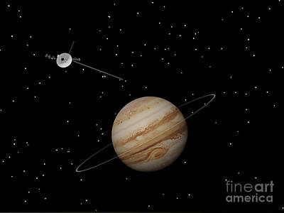 Voyager Spacecraft Near Jupiter Poster