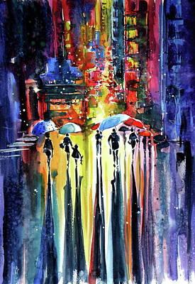 Walk At Night Poster by Kovacs Anna Brigitta