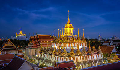 Wat Ratchanaddaram And Loha Prasat Metal Palace Poster by Anek Suwannaphoom