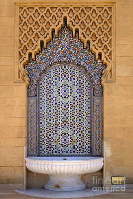 Water Fountain Mausoleum Of Mohammed V Opposite Hassan Tower Rabat Morocco  Poster by Ralph A  Ledergerber-Photography