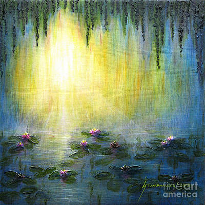 Water Lilies At Sunrise Poster by Jerome Stumphauzer