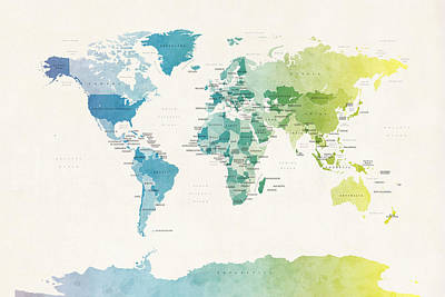 Watercolour Political Map Of The World Poster by Michael Tompsett