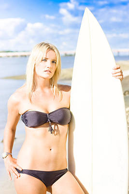 Watersport Woman Holding Surfboard Poster by Jorgo Photography - Wall Art Gallery