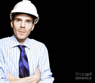 Well Dressed Engineer Isolated On Black Background Poster