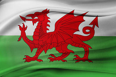Welsh Flag Poster by Les Cunliffe