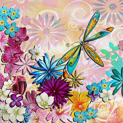 Whimsical Floral Flowers Dragonfly Art Colorful Uplifting Painting By Megan Duncanson Poster by Megan Duncanson
