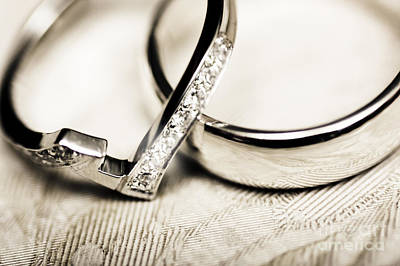 White Gold Wedding Rings Poster by Jorgo Photography - Wall Art Gallery