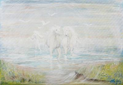 Poster featuring the painting White Horses by Cathy Long