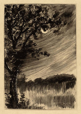 William Fowler Hopson, Moonlit Landscape With Tree Poster