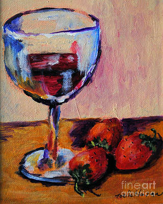 Wine And Strawberries Poster by Toelle Hovan