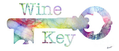 Wine Key Watercolor Poster by Jon Neidert