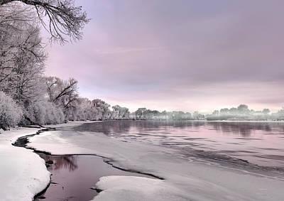 Winter River Sunrise Poster by Leland D Howard