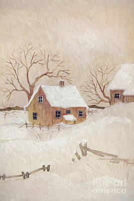 Winter Scene With Farmhouse/ Digitally Altered Poster by Sandra Cunningham