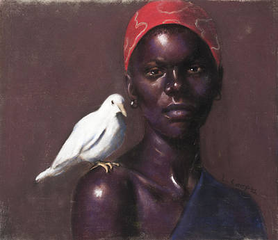 Woman And Dove Poster by L Cooper