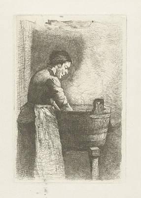 Woman At A Washtub, Gerard Jan Bos Poster