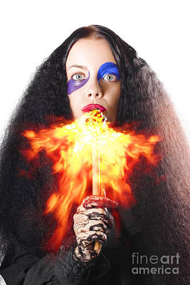Woman Breathing Fire From Mouth Poster