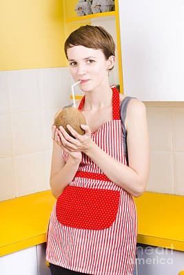Woman Drinking Coconut Milk In Kitchen Poster by Jorgo Photography - Wall Art Gallery