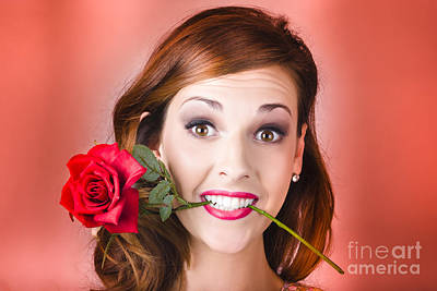 Woman Gripping Red Rose Between Her Teeth Poster