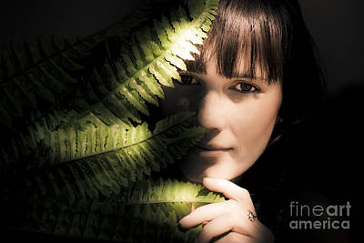 Woman Hiding Behind Fern Leaf Poster