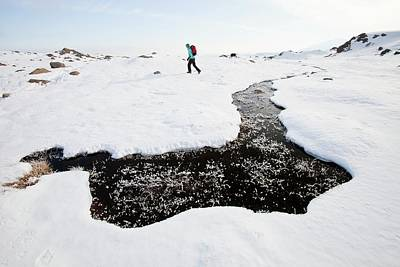 Woman Hill Walker By A Frozen Bog Poster