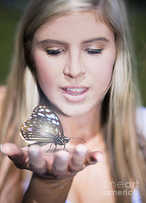 Woman Holding Butterfly Poster by Jorgo Photography - Wall Art Gallery