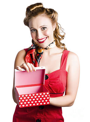 Woman Holding Gift Box Poster by Jorgo Photography - Wall Art Gallery
