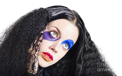 Woman In Colorful Fashion Make Up Poster