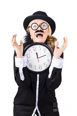 Woman In Panic With Behind Schedule Clock Poster