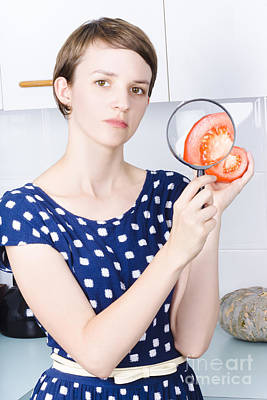 Woman Looking At Health Benefits Of Tomatoes Poster