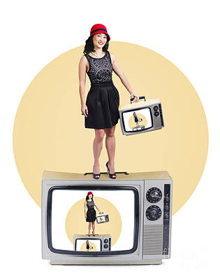 Woman On Retro Television Set Poster by Jorgo Photography - Wall Art Gallery