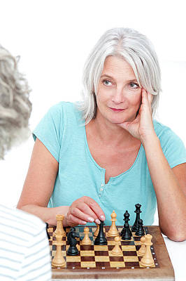 Woman Playing Chess Poster