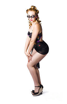 Woman Posing In Black Lingerie Poster by Jorgo Photography - Wall Art Gallery