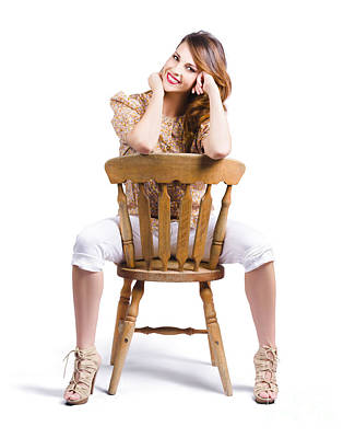 Woman Posing On Chair Poster by Jorgo Photography - Wall Art Gallery
