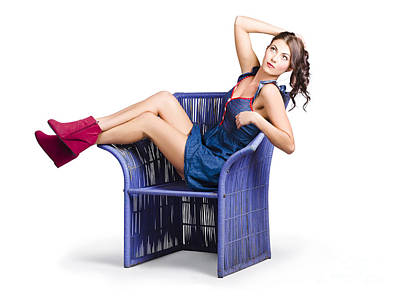 Woman Sitting On A Chair Poster by Jorgo Photography - Wall Art Gallery