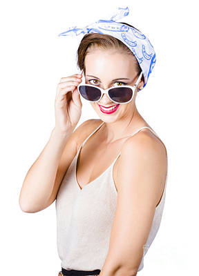 Woman Smiling Over Sun Glasses Poster