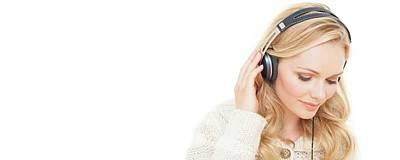 Woman Wearing Headphones Poster by Ian Hooton