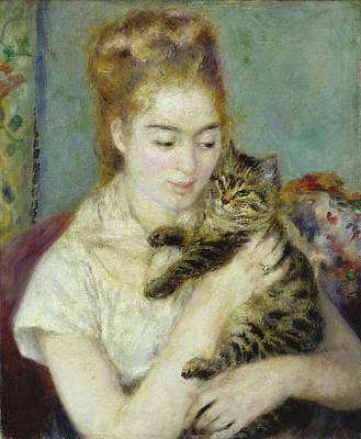 Woman With A Cat Poster by Pierre Auguste Renoir