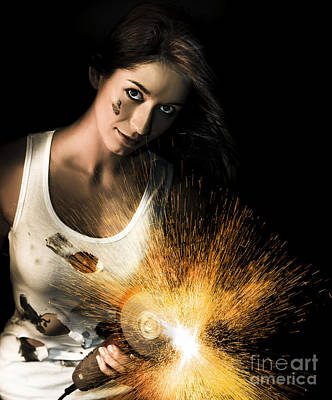 Woman With Angle Grinder Spraying Sparks Poster by Jorgo Photography - Wall Art Gallery
