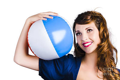 Woman With Beach Ball Poster by Jorgo Photography - Wall Art Gallery