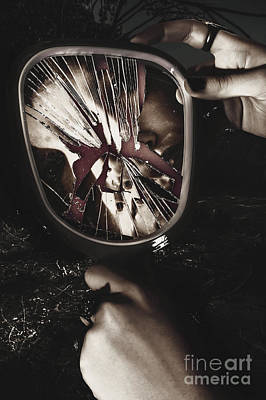 Woman With Broken Mirror And Shattered Reflection Poster