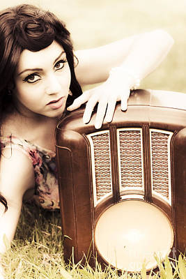 Woman With Retro Radio Poster by Jorgo Photography - Wall Art Gallery