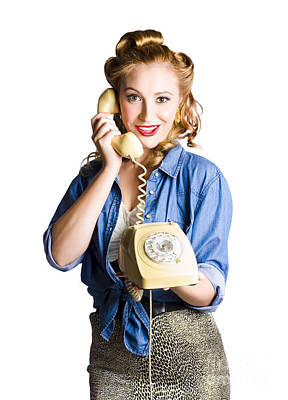Woman With Retro Telephone Poster by Jorgo Photography - Wall Art Gallery