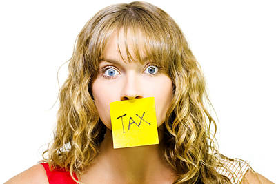 Woman With Tax Note Over Mouth Poster by Jorgo Photography - Wall Art Gallery