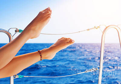 Women's Feet On The Yacht Poster