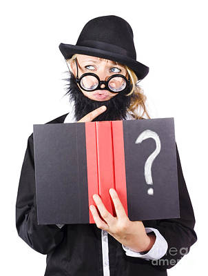 Wondering Woman With Text Book Question Poster